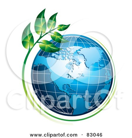 Green Plant Growing Around An American Globe Posters, Art Prints