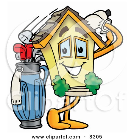Clipart Picture of a House Mascot Cartoon Character Swinging His Golf Club While Golfing by Toons4Biz