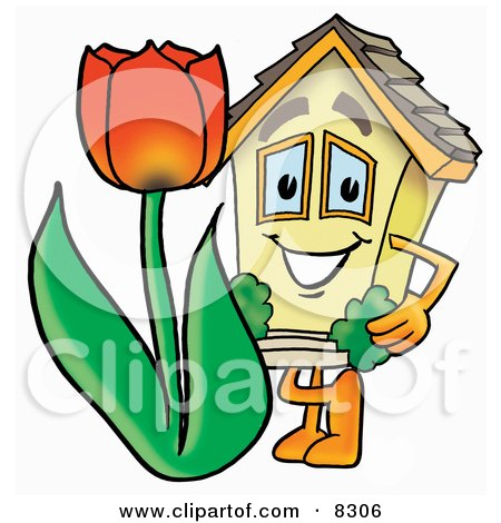 Clipart Picture of a House Mascot Cartoon Character Holding