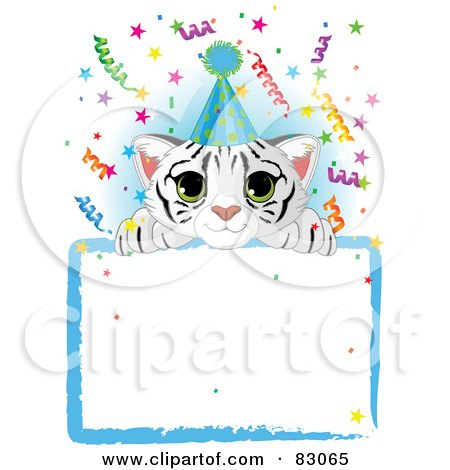 Royalty-Free (RF) Clipart Illustration of a Adorable White Tiger Cub Wearing A Party Hat, Looking Over A Blank Starry Sign With Colorful Confetti by Pushkin