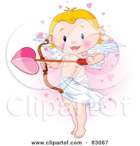 Cute Blond Cupid Standing And Holding A Giant Heart Arrow, In A Pink Heart Cloud Posters, Art Prints
