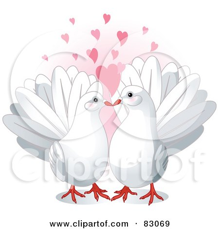 Royalty-Free (RF) Clipart Illustration of a Pair Of Cute White Doves In Love, Under Pink Hearts by Pushkin