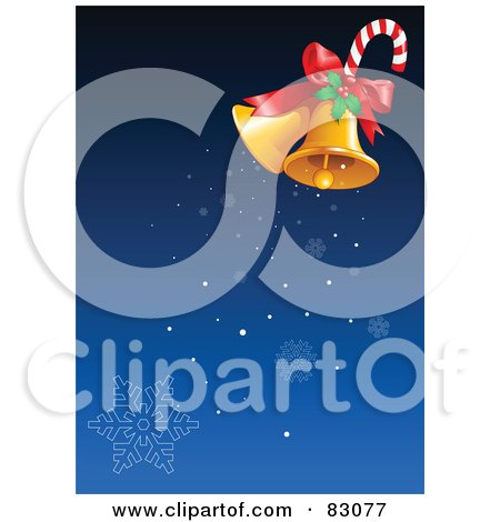 Royalty-Free (RF) Clipart Illustration of a Pair Of Golden Christmas Bells With Holly And A Candy Cane, Ringing Snowflakes Down Over Blue by Pushkin