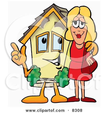 Clipart Picture of a House Mascot Cartoon Character Talking to a Pretty Blond Woman by Toons4Biz
