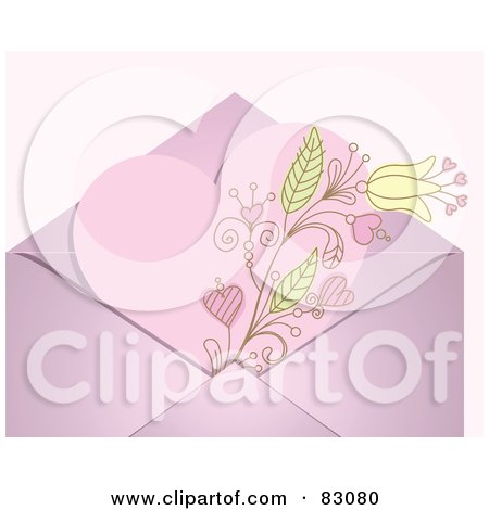 Royalty-Free (RF) Clipart Illustration of a Pink Floral Heart Valentine In An Envelope Over A Pastel Pink Background by Pushkin