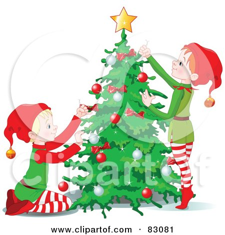 Royalty-Free (RF) Clip Art Illustration of a Two Christmas Elves Decorating A Christmas Tree Together by Pushkin