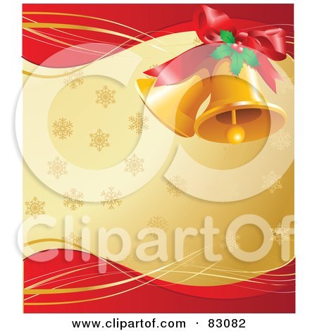 Royalty-Free (RF) Clipart Illustration of a Pair Of Golden Christmas Bells With Holly And A Bow, Over A Golden And Red Background Of Snowflakes by Pushkin