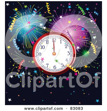 New Year Clock At Midnight, Surrounded By Colorful Fireworks And Confetti Over Navy Blue Posters, Art Prints