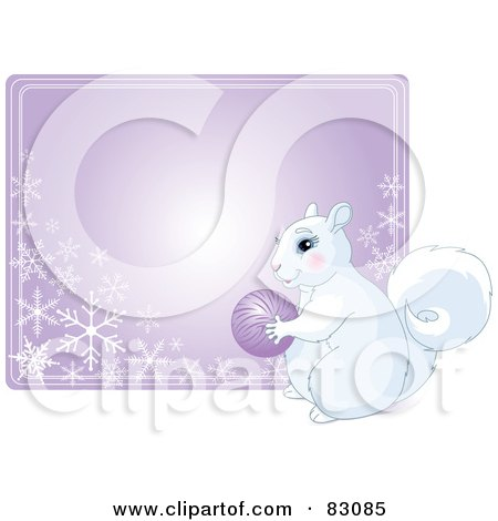 Royalty-Free (RF) Clipart Illustration of a Cute White Squirrel Holding An Ornament In Front Of A Purple Snowflake Sign by Pushkin