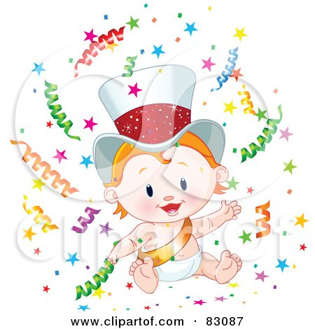 Royalty-Free (RF) Clipart Illustration of a Cute Strawberry Blond New Year Baby Wearing A Gold Sash And Hat, Surrounded By Confetti by Pushkin