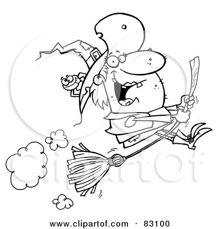 Royalty-Free (RF) Clipart Illustration of an Outlined Flying Witch and Spider by Hit Toon