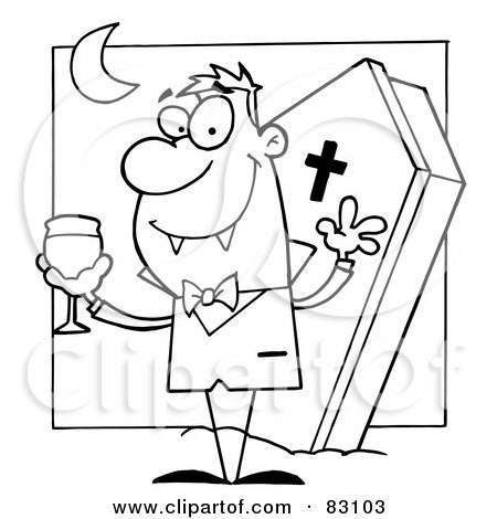 Royalty-Free (RF) Clipart Illustration of an Outlined Vampire and Coffin by Hit Toon