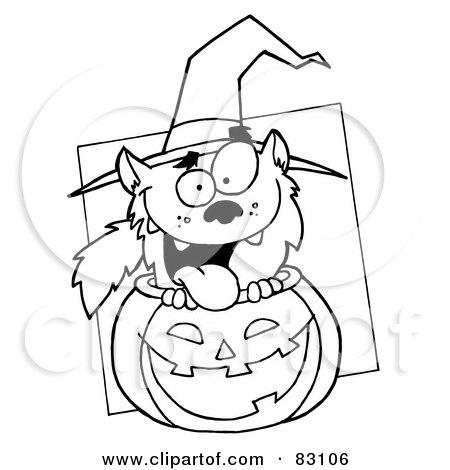Royalty-Free (RF) Clipart Illustration of an Outlined Werewolf in Pumpkin by Hit Toon