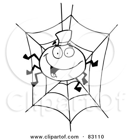 Royalty-Free (RF) Clipart Illustration of an Outlined Spider in Web by Hit Toon