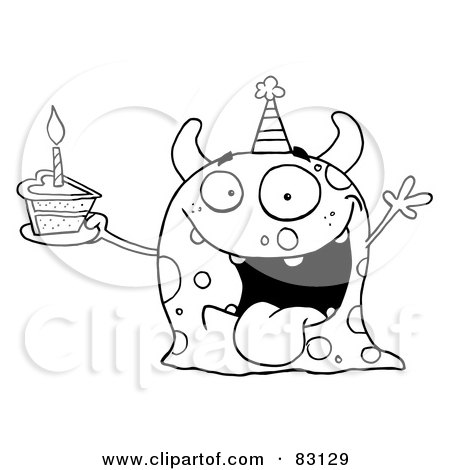 Royalty-Free (RF) Clipart Illustration of an Outlined Birthday Monster by Hit Toon