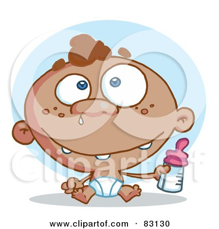 Royalty-Free (RF) Clipart Illustration of a Black Baby In A Diaper, Holding A Bottle by Hit Toon