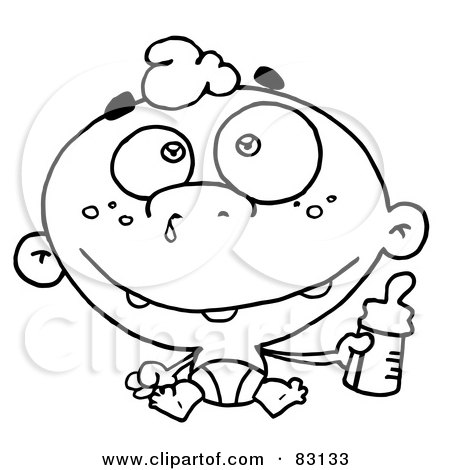 Royalty-Free (RF) Clipart Illustration of an Outlined Baby With Bottle by Hit Toon