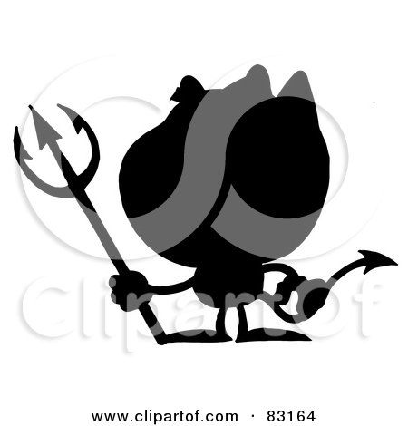 Royalty-Free (RF) Clipart Illustration of a Solid Black Silhouette Of A Devil by Hit Toon