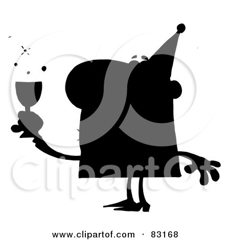 Royalty-Free (RF) Clipart Illustration of a Solid Black Silhouette Of A Drunk Party Man by Hit Toon