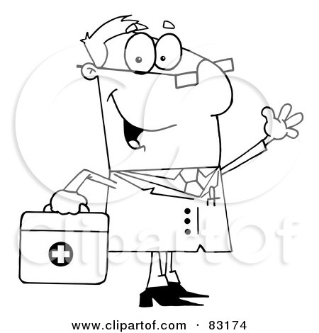 Royalty-Free (RF) Clipart Illustration of an Outlined Doctor by Hit Toon