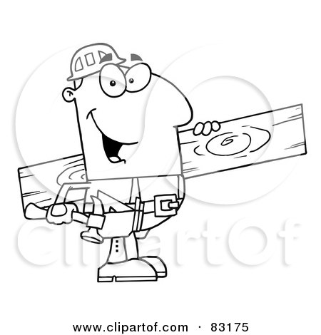 Royalty-Free (RF) Clipart Illustration of an Outlined Carpenter With Wood by Hit Toon