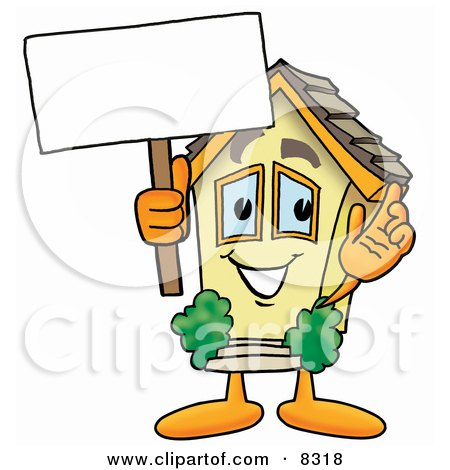 Clipart Picture of a House Mascot Cartoon Character Holding a Blank Sign by Toons4Biz