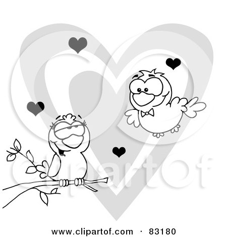 Royalty-Free (RF) Clipart Illustration of an Outlined Pair of Love Birds by Hit Toon