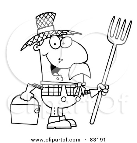 Royalty Free Rf Clipart Illustration Of An Outlined Farmer By Hit