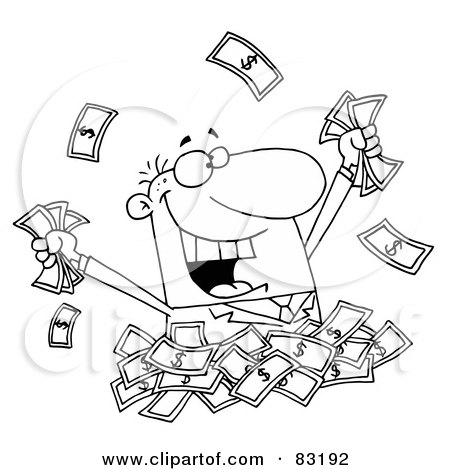 Royalty-Free (RF) Clipart Illustration of an Outlined Man in a Pile of Money by Hit Toon
