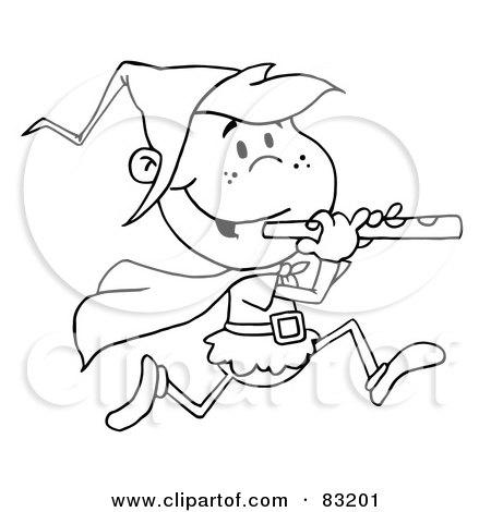 Royalty-Free (RF) Clipart Illustration of an Outlined Running Piper by Hit Toon