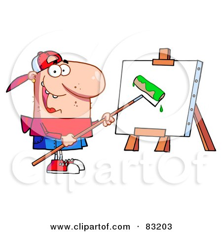 Young Man Using A Roller Brush To Paint A Canvas Posters, Art Prints