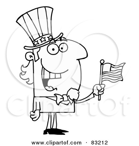 Royalty Free Rf Clipart Illustration Of An Outlined Cheery Uncle