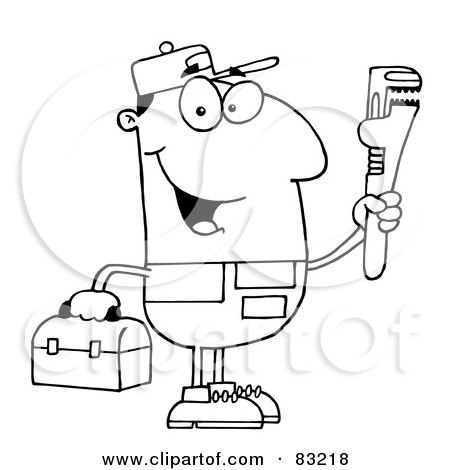 Royalty-Free (RF) Clipart Illustration of an Outlined Plumber by Hit Toon