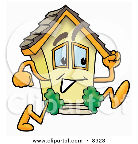 Clipart Picture of a House Mascot Cartoon Character Running by Toons4Biz