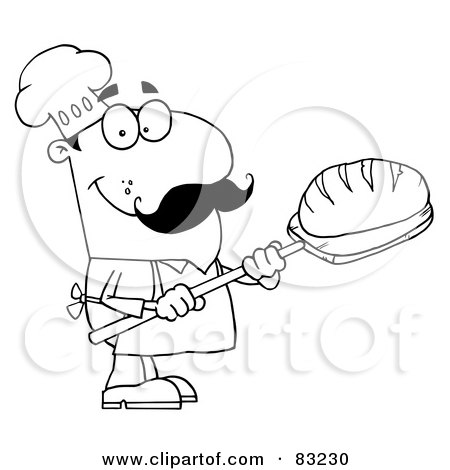 Royalty-Free (RF) Clipart Illustration of an Outlined Bread Cook by Hit Toon
