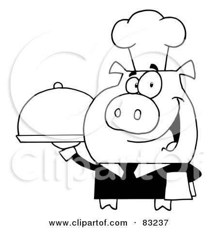 Royalty-Free (RF) Clipart Illustration of an Outlined Serving Pig by Hit Toon