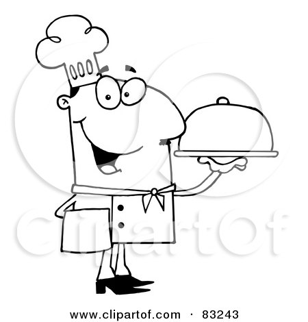 Royalty-Free (RF) Clipart Illustration of an Outlined Serving Chef by Hit Toon