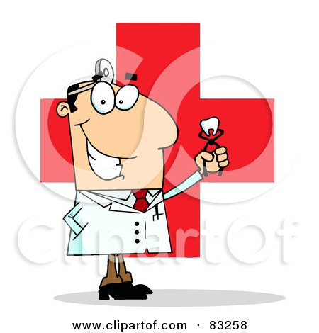 Royalty-Free (RF) Clipart Illustration of a Male Dentist Holding A Pulled Tooth Over A Red Cross by Hit Toon