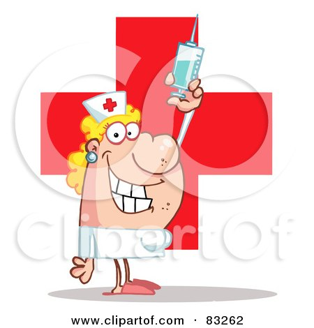 Royalty-Free (RF) Clipart Illustration of a Female Nurse Holding A Syringe Over A Red Cross by Hit Toon