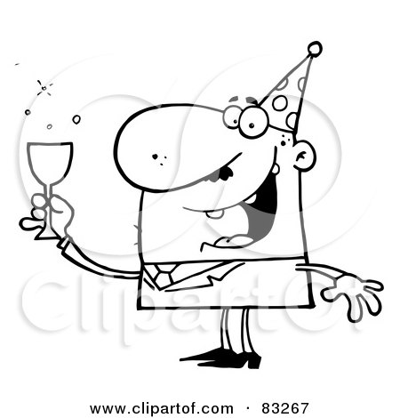 Royalty-Free (RF) Clipart Illustration of an Outlined Party Guy by Hit Toon