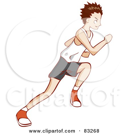 Royalty-Free (RF) Clipart Illustration of a Profile of a Sprinting Boy by Bad Apples