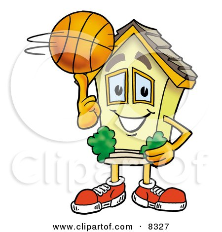 Clipart Picture of a House Mascot Cartoon Character Spinning a Basketball on His Finger by Toons4Biz