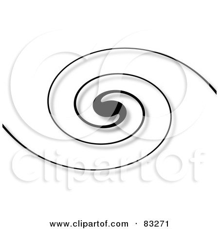 Royalty-Free (RF) Clipart Illustration of a Background Of A Black Swirl With A Shadow On White by oboy