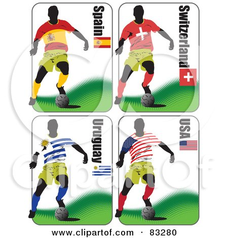 Royalty-Free (RF) Clipart Illustration of a Digital Collage Of Soccer World Cup Players From Spain, Switzerland, Uruguay and USA by leonid
