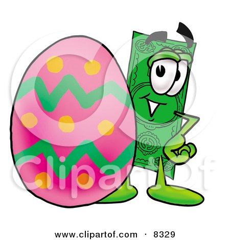 Clipart Picture of a Dollar Bill Mascot Cartoon Character Standing Beside an Easter Egg by Toons4Biz