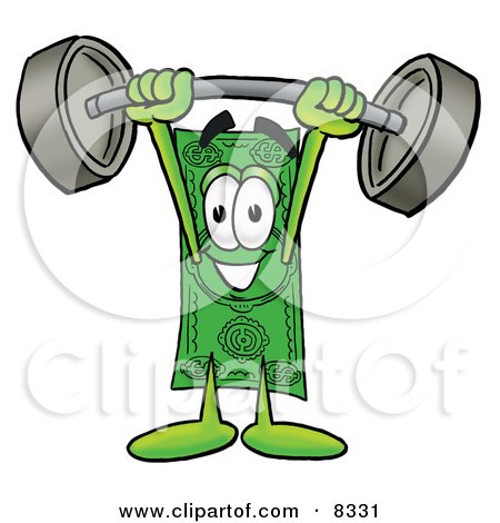 Clipart Picture of a Dollar Bill Mascot Cartoon Character Holding a Heavy Barbell Above His Head by Toons4Biz