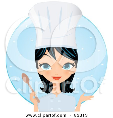 Royalty-Free (RF) Clipart Illustration of a Black Haired, Blue Eyed Female Chef Gesturing And Holding A Spoon In Front Of A Blue Circle by Melisende Vector