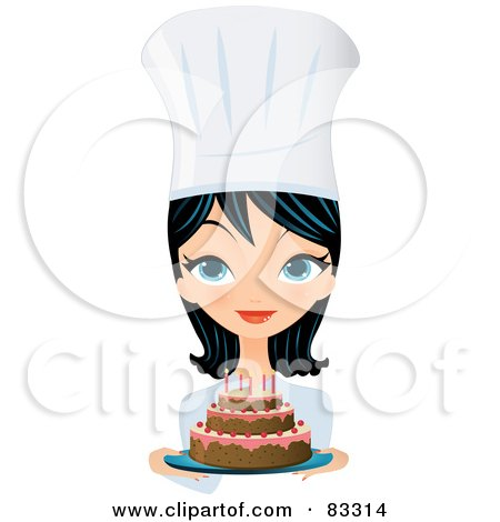 Royalty-Free (RF) Clipart Illustration of a Black Haired Blue Eyed Female Chef Presenting A Frosted Birthday Cake With Candles by Melisende Vector