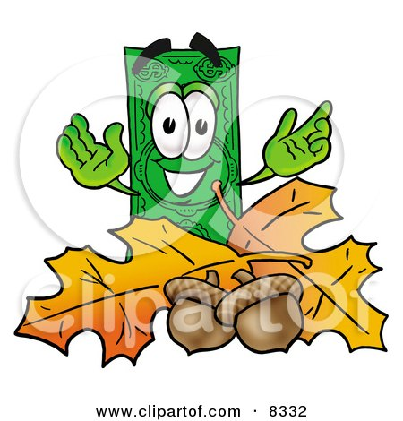 Clipart Picture of a Dollar Bill Mascot Cartoon Character With Autumn Leaves and Acorns in the Fall by Toons4Biz
