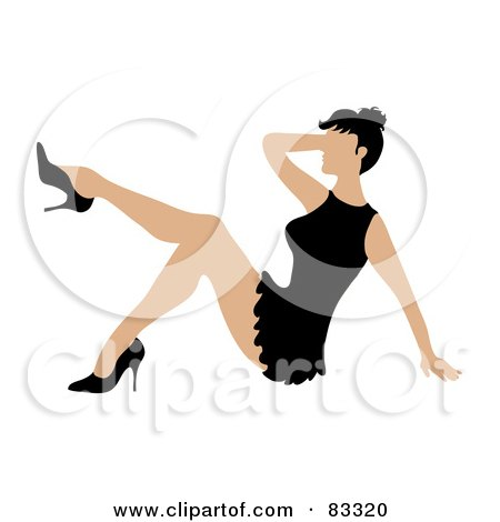 Royalty-Free (RF) Clipart Illustration of a Sexy Woman In A Little Black Dress And Heels, Sitting And Kicking Her Leg Up by Pams Clipart